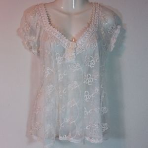 American Rag Sheer White Lace Top
